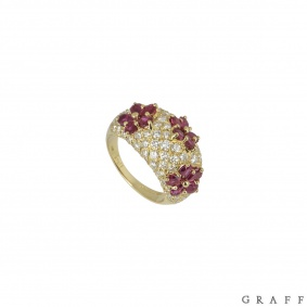 Graff Yellow Gold Diamond And Ruby Set Ring